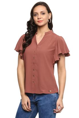 Womens Mandarin Collar Solid Shirt