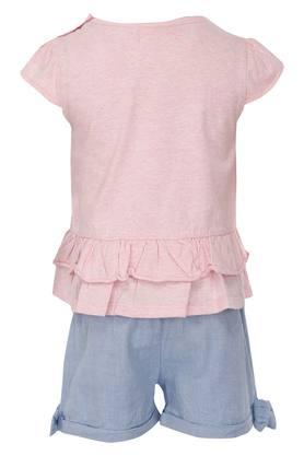 Girls Round Neck Embroidered Top and Slub Shorts