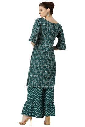 Womens Printed Straight Kurta With Palazzo Pants