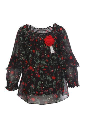 Girls Round Neck Printed Top