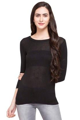 STOP Womens Round Neck Stripe Sweater - 203744505