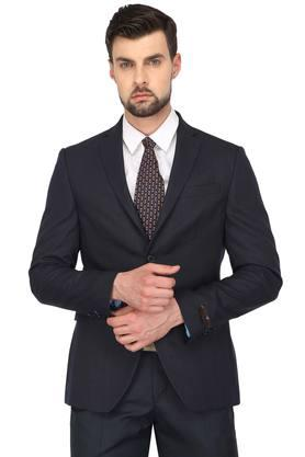 Mens Notched Lapel Slub Blazer