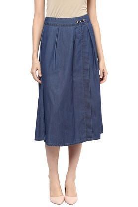 109FWomens Knee Length Solid Skirt