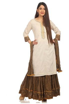 BIBA Womens Notched Neck Embroidered Kurta Skirt Set