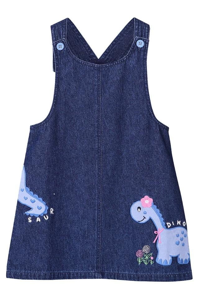 Girls Round Neck Embroidered Pinafore Dress