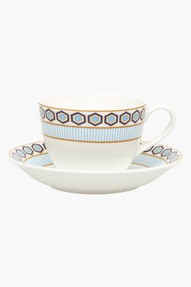 Round Convivial Printed Cup and Saucer Set of 6