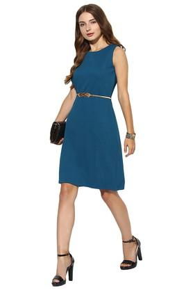 Womens Round Neck Self Pattern Knee Length Dress