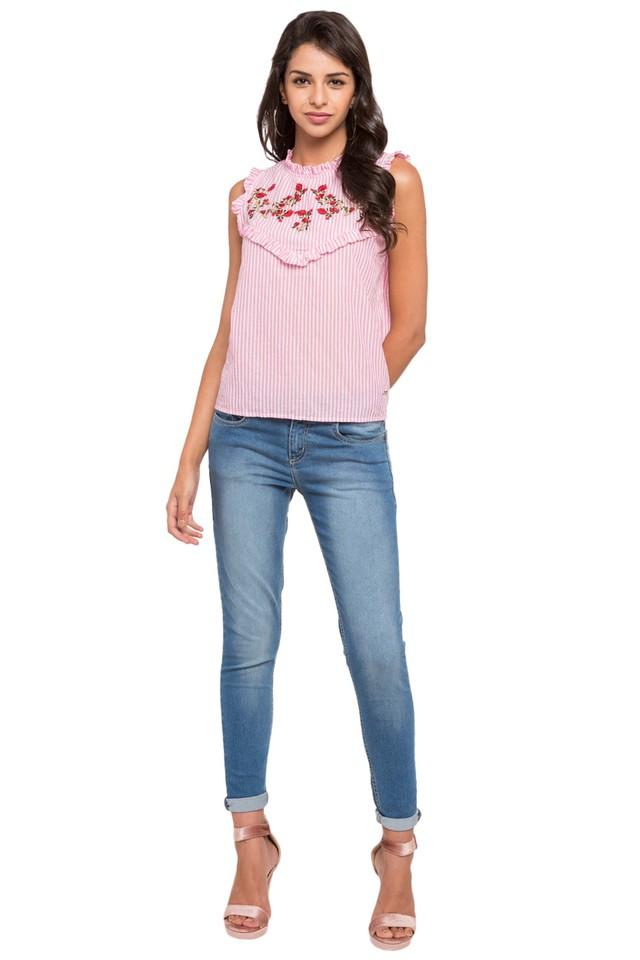 Womens Round Neck Embroidered-Striped Top