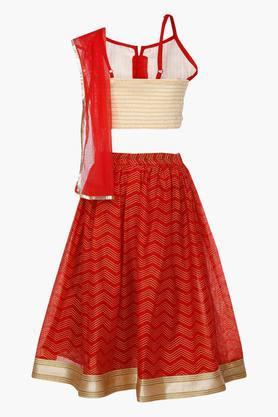 Girls Strappy Neck Assorted Ghaghra Choli and Dupatta Set