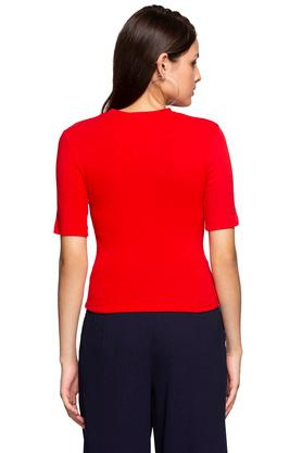 Womens Round Neck Solid Cut Out Top