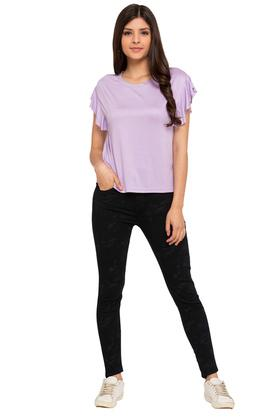 Womens 5 Pocket Self Printed Jeans