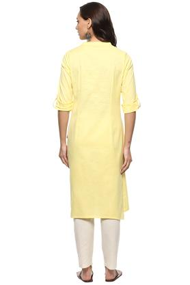 Womens Mandarin Collar Solid Kurta