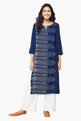 GLOBAL DESI Womens Key Hole Neck Printed Kurta - 202887109_9324