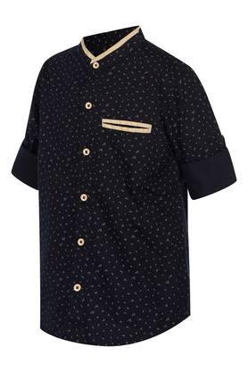 Boys Mandarin Neck Printed Shirt