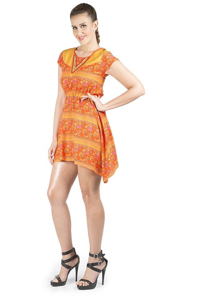 Womens Round Neck Printed Asymmetrical Dress