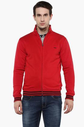 PROLINEMens Zip Through Neck Solid Sweatshirt