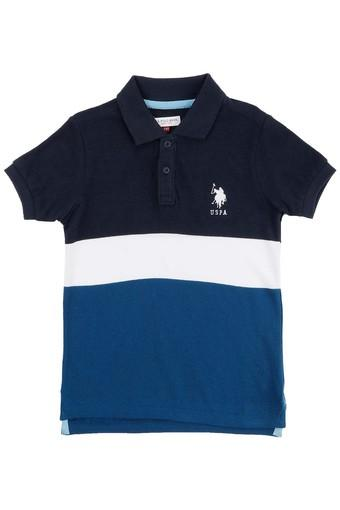 Boys Regular Fit Colour Block Polo Tee