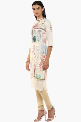 Womens Mandarin Neck Printed Embellished Kurta