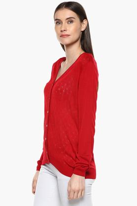 Womens V-Neck Perforated Sweater