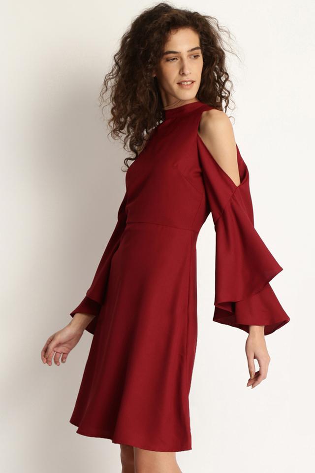 Womens Halter Neck Solid A-Line Dress