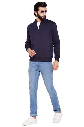 Mens Zip Through Neck Solid Sweatshirt