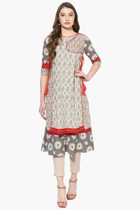 JUNIPER Womens Embroidered Angrakha Style Kurta With Straight Pants