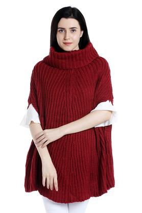 109F Womens Turtle Neck Knitted Pattern Poncho