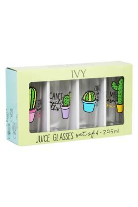 IVY Round Printed Juice Glasses Set Of 4