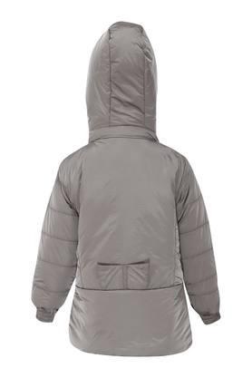 Girls Hooded Solid Jacket
