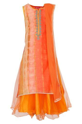 Girls Round Neck Printed Lehenga Set