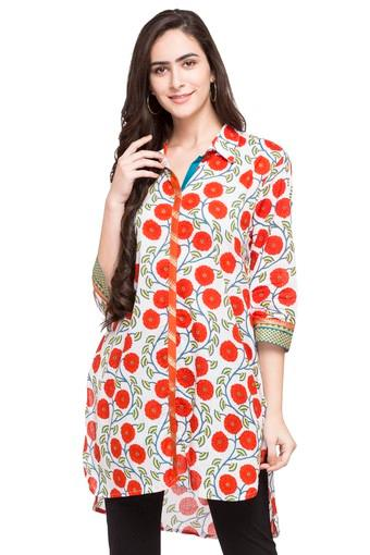 Womens Collared Printed Kurta