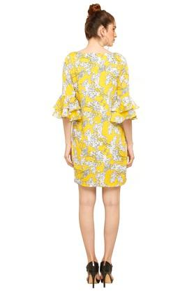 Womens Boat Neck Floral Printed Shift Dress