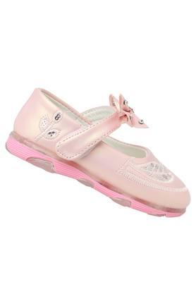 Girls Synthetic Leather Velcro Closure Ballerinas