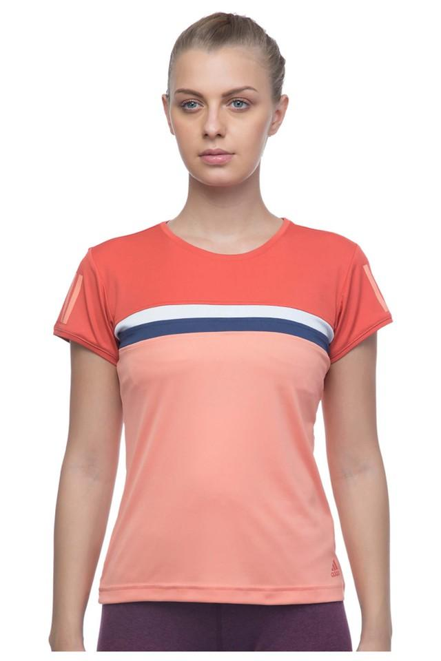 Womens Regular Fit Round Neck Colour Block Top