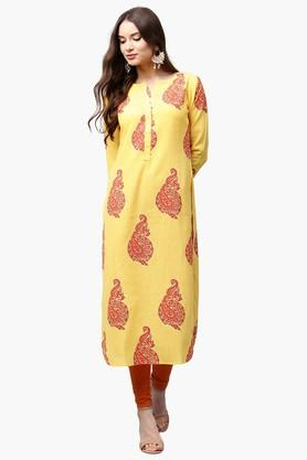 LIBAS Womens Round Neck Paisley Print Princess Cut Kurta