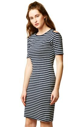 Womens Round Neck Stripe Bodycon Dress
