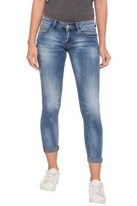 Women 5 Pocket Whiskered Effect Jeans