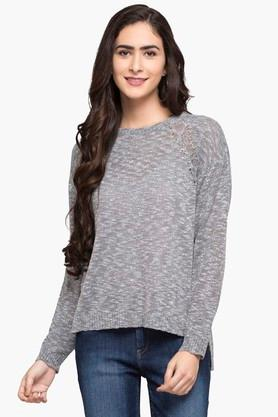 U.S. POLO ASSN.Womens Round Neck Slub Sweater - 203391355_9204