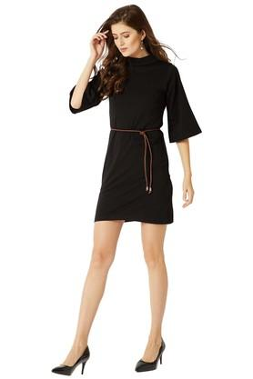 Womens Relaxed Fit Band Collar Solid Shift Dress