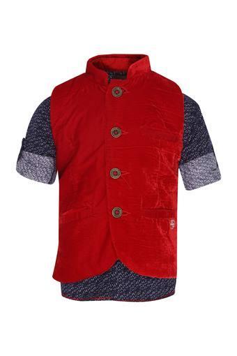 Boys Mandarin Neck Printed Shirt With Waistcoat