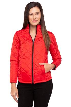 LIFEWomens Zip Through Neck Solid Quilted Jacket