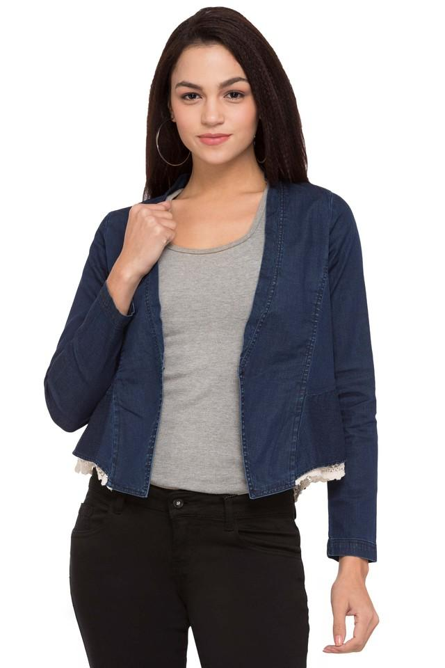 Womens Open Front Solid Jacket