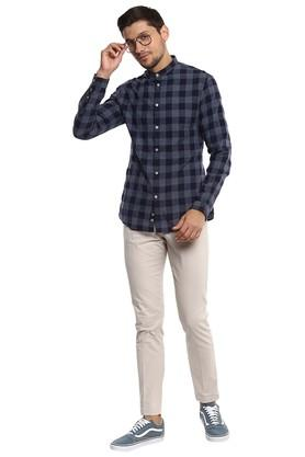 Mens Mandarin Collar Checked Shirt