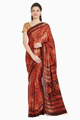 JASHN Womens Red Abstract Print Crepe Saree