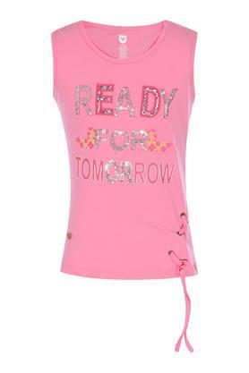 Girls Round Neck Printed Embellished Top