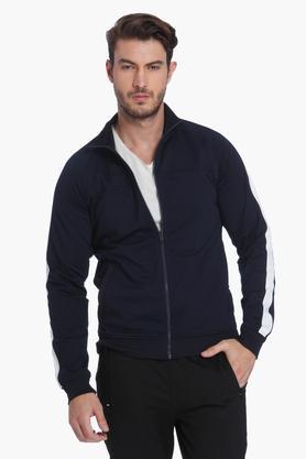 JACK AND JONESMens Zip Through Neck Solid Sweatshirt