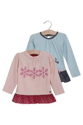 Kids Round Neck Assorted and Printed Top - Pack Of 2