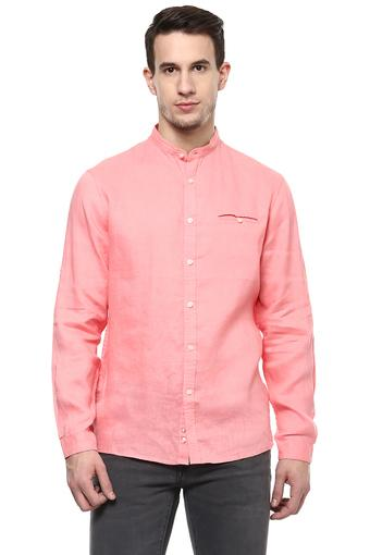 Mens Regular Fit Band Collar Solid Shirt