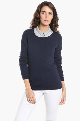 VERO MODA Womens Round Neck Solid Sweater - 202987831