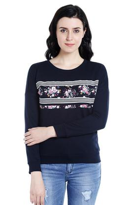 109F Womens Round Neck Printed Pullover - 203324731